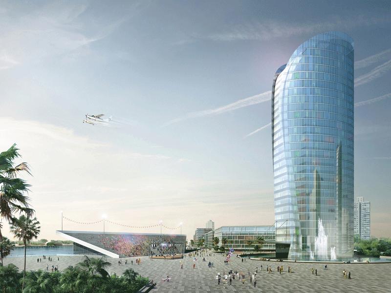 Shanghai masterplan di Marina di Jinshan